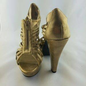 Gorgeous gold caged party heels